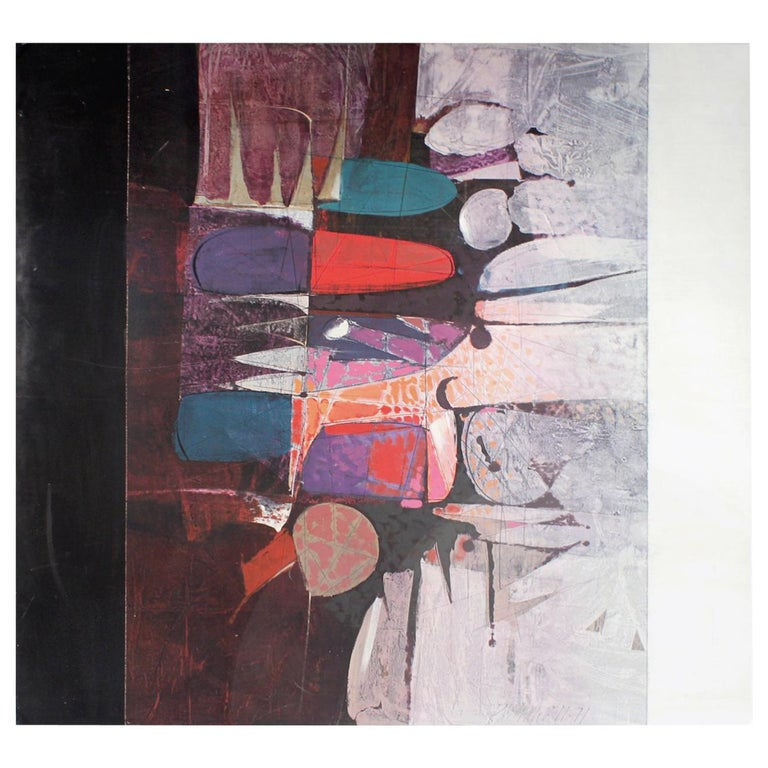 Paul Maxwell Abstract Modernist Oil Painting on Canvas 1971
