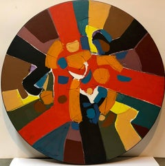 Large Mid Century Modern Abstract Round Painting
