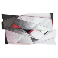 Large Modern Abstract Expressionist Geometric White, Black and Red Painting