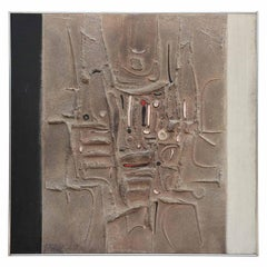 Large Neutral Tonal Geometric Textured Modern Abstract Painting