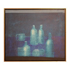Modern Abstract Expressionist Blue Still Life with Bottles Painting