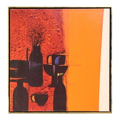 Modern Red, Orange, and Black Abstract Geometric Kitchenware Still Life Painting