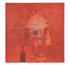 Orange Tonal Minimal Abstract Still Life Painting