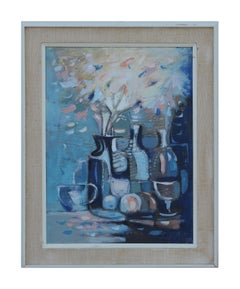 Untitled Modern Geometric Blue Tonal Abstract Still Life Painting