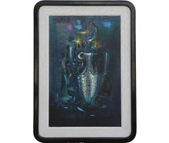 Whimsical Textured Blue Tonal Still Life Painting