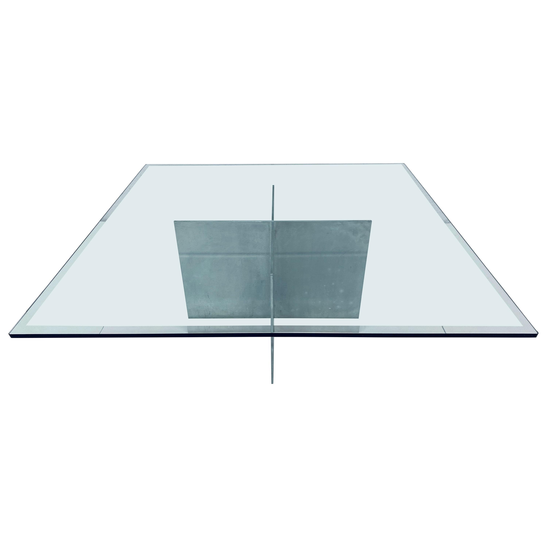 Paul Mayen Aluminum and Glass Top Coffee Table for Habitat