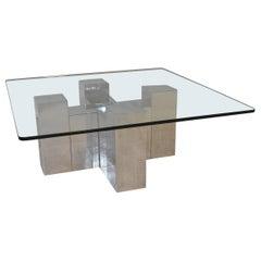 Paul Mayen for Habitat Aluminum Glass Coffee Table