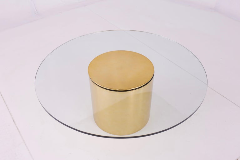 Paul Mayen for Habitat midcentury brass and glass drum Barrel coffee table   Measures: 36 wide x 36 deep x 14.25 high.