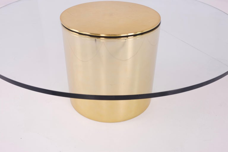 Mid-Century Modern Paul Mayen for Habitat Midcentury Brass and Glass Drum Barrel Coffee Table For Sale