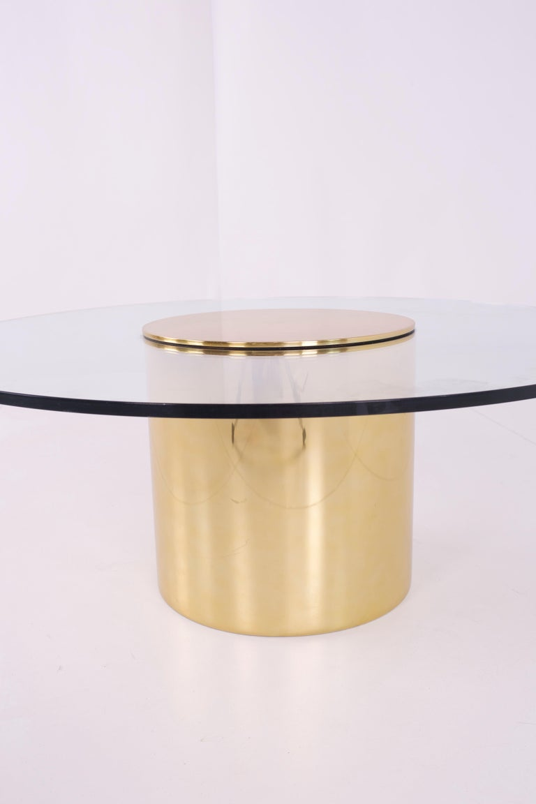 American Paul Mayen for Habitat Midcentury Brass and Glass Drum Barrel Coffee Table For Sale