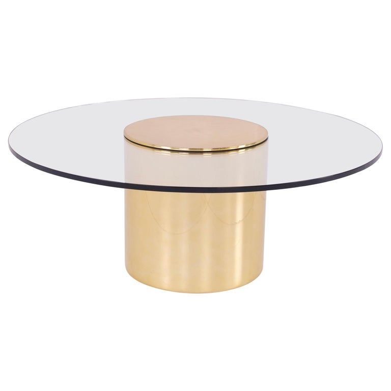 Paul Mayen for Habitat Midcentury Brass and Glass Drum Barrel Coffee Table For Sale