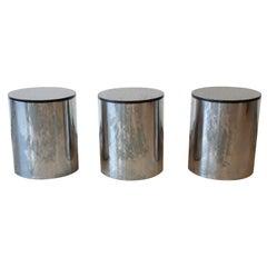 Paul Mayen for Habitat Polished Aluminum and Black Granite Drum Side Tables