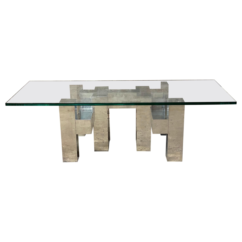 Paul Mayen for Habitat Polished Aluminum and Glass Coffee Table
