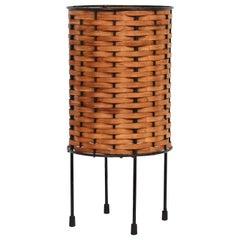 Paul Mayen Black Wire & Woven Oak Splint Table Lamp, c. 1960