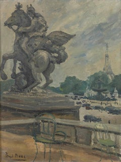 'The Eiffel Tower from the Tuileries' Modern British Impressionist oil painting