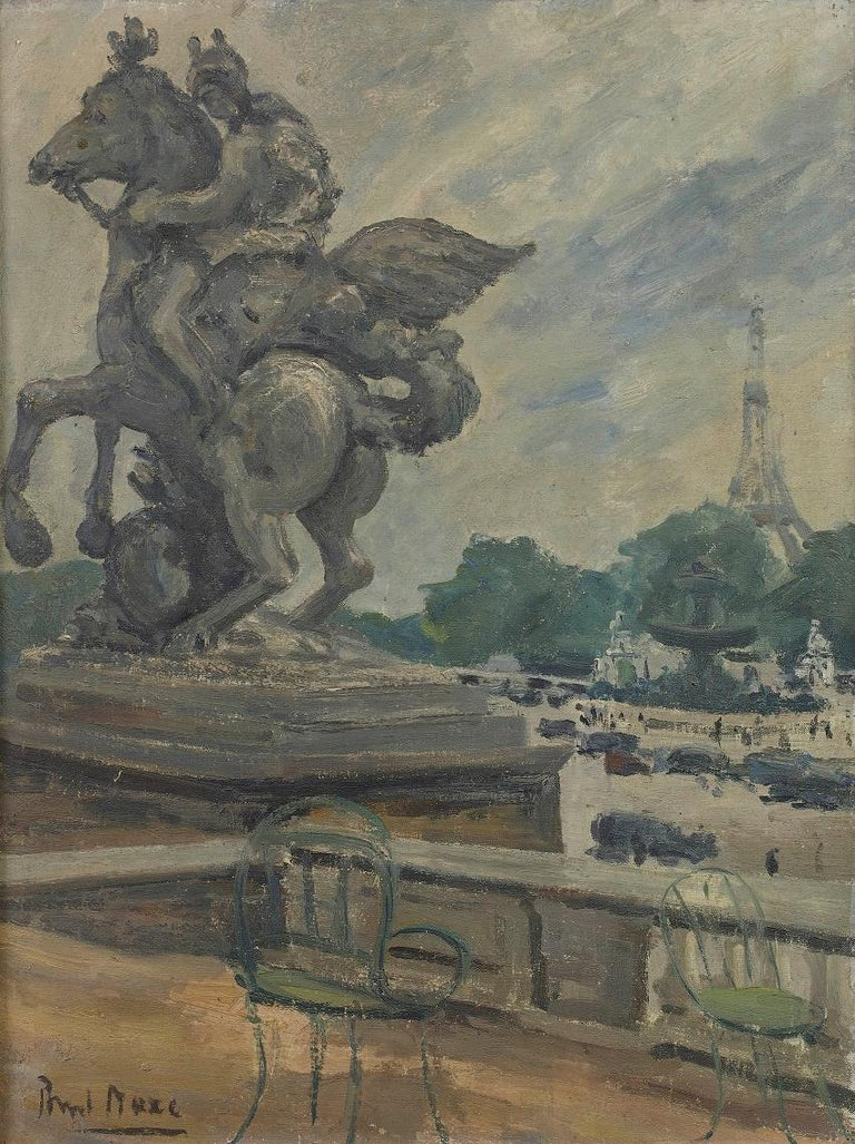 'The Eiffel Tower from the Tuileries' Modern British Impressionist oil painting - Painting by Paul Maze