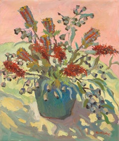 Gumnuts and Grevillea - Still Life Painting by Paul McCarthy