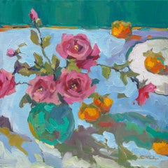 Persimmons and Roses - Still Life Painting by Paul McCarthy