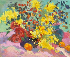 Wattle and Roses - Still Life Painting by Paul McCarthy
