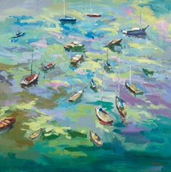 Yachts on the Bay - Fauvist, Landscape Print by Paul McCarthy