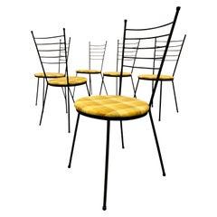 Paul McCobb Arbuck Wrought Iron Hairpin Chairs Set, 1950s, Indoor Outdoor Patio