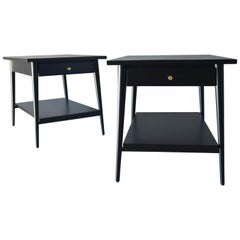 Paul McCobb Black Lacquered Nightstands, circa 1955