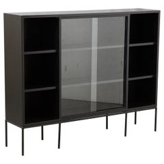 Paul McCobb Bookcase in New Black Finish with Sliding Glass Doors on Iron Base