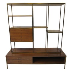 Paul McCobb Bookcase / Room Divider in Brass and Walnut for Calvin