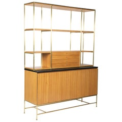 Paul McCobb Brass and Bleached Mahogany Bookcase With Slate Top