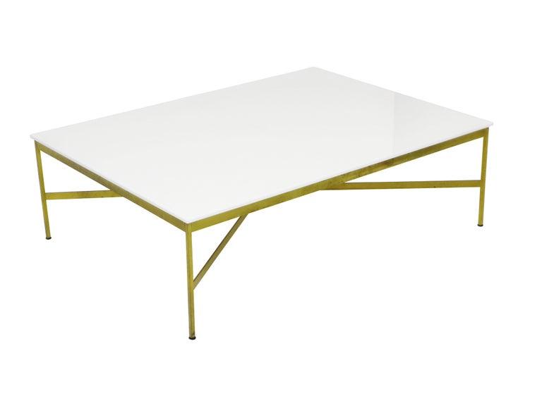 Mid-Century Modern Paul McCobb Brass and Vitrolite Coffee Table For Sale