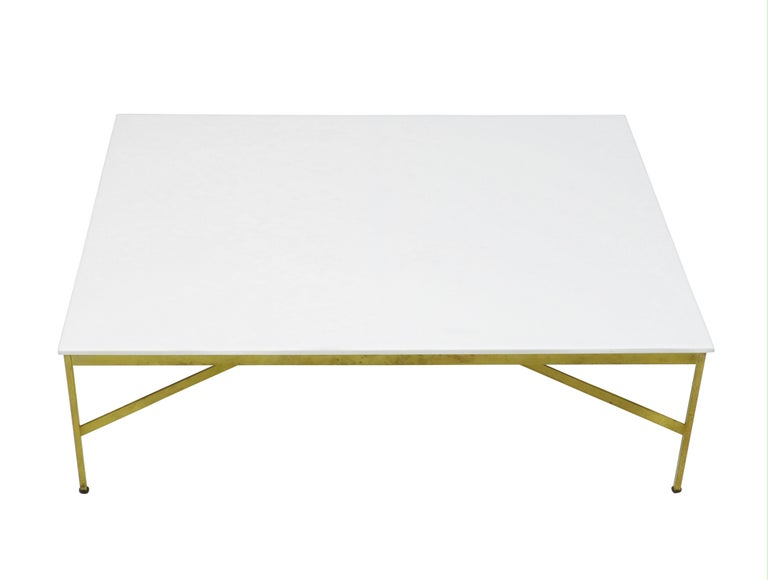 American Paul McCobb Brass and Vitrolite Coffee Table For Sale