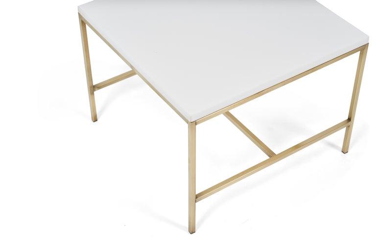 Mid-Century Modern Paul McCobb Brass Frame Side Table Vitrolite Glass Top