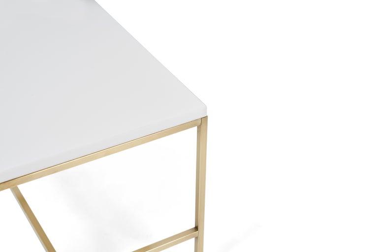 American Paul McCobb Brass Frame Side Table Vitrolite Glass Top