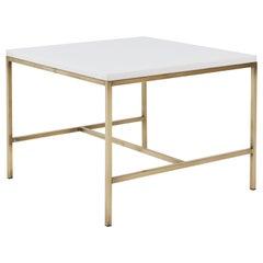Paul McCobb Brass Frame Side Table Vitrolite Glass Top