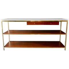 Paul McCobb Brass, Mahogany and Vitrolite Glass Console Table, circa 1955
