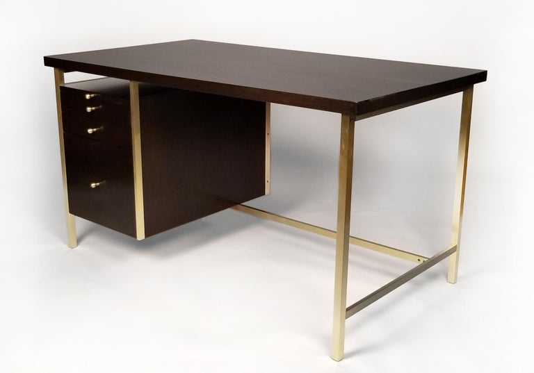 American Paul McCobb Brass & Mahogany Desk for the Connoisseur Collection H. Sacks & Sons For Sale