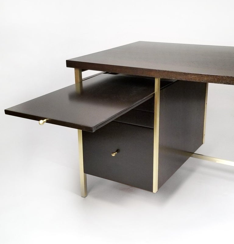 Brushed Paul McCobb Brass & Mahogany Desk for the Connoisseur Collection H. Sacks & Sons For Sale