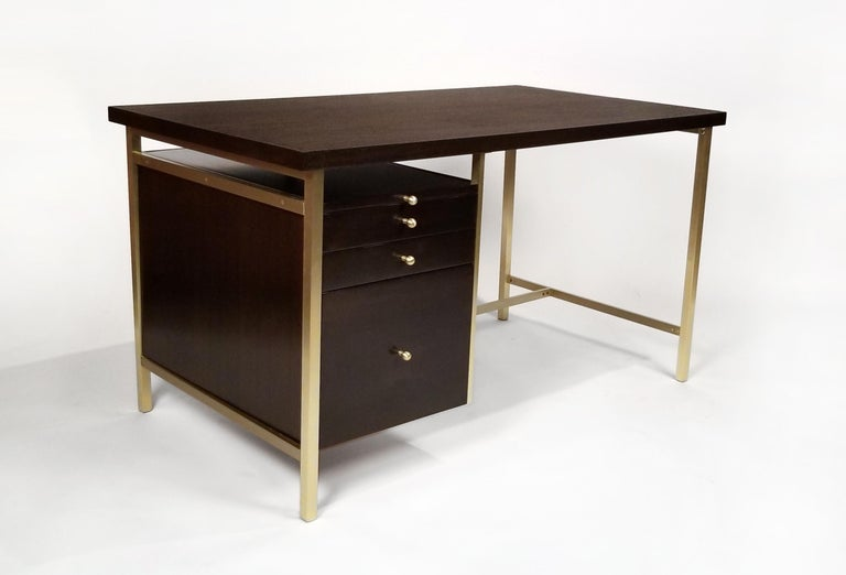 20th Century Paul McCobb Brass & Mahogany Desk for the Connoisseur Collection H. Sacks & Sons For Sale