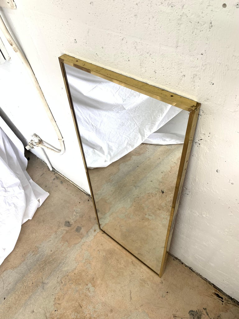 Mid-Century Modern Paul Mccobb Brass Mirror from the Irwin Collection for Calvin, Signed For Sale