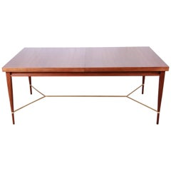 Paul McCobb Calvin Irwin Collection Mahogany and Brass Dining Table, Restored