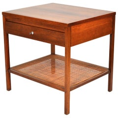 Paul McCobb Delineator Walnut, Rosewood and Cane Side Table