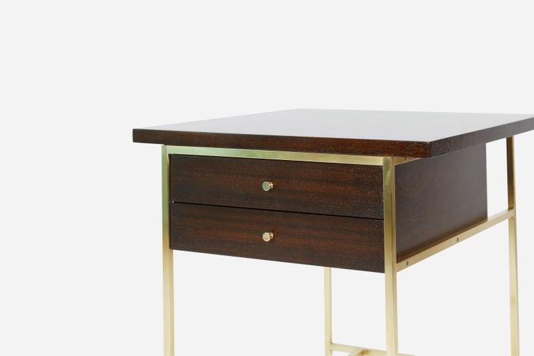 American Paul McCobb End Table on Brass For Sale