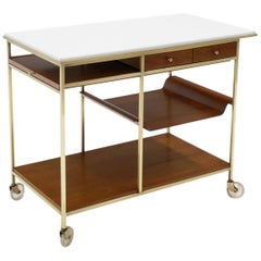 Paul McCobb Expandable Bar Cart with Removable Tray Brass Frame White Milk Glass