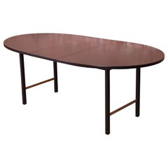 Paul McCobb for Calvin Black Lacquer and Brass Dining Table, Newly Refinished