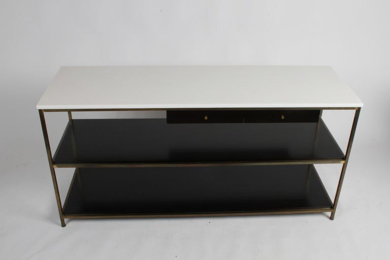 Paul McCobb for Calvin Console Table with White Vitrolite Top and Brass Frame For Sale 5