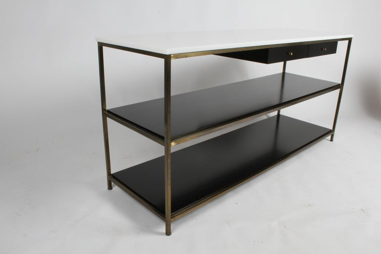 Paul McCobb for Calvin Console Table with White Vitrolite Top and Brass Frame For Sale 6