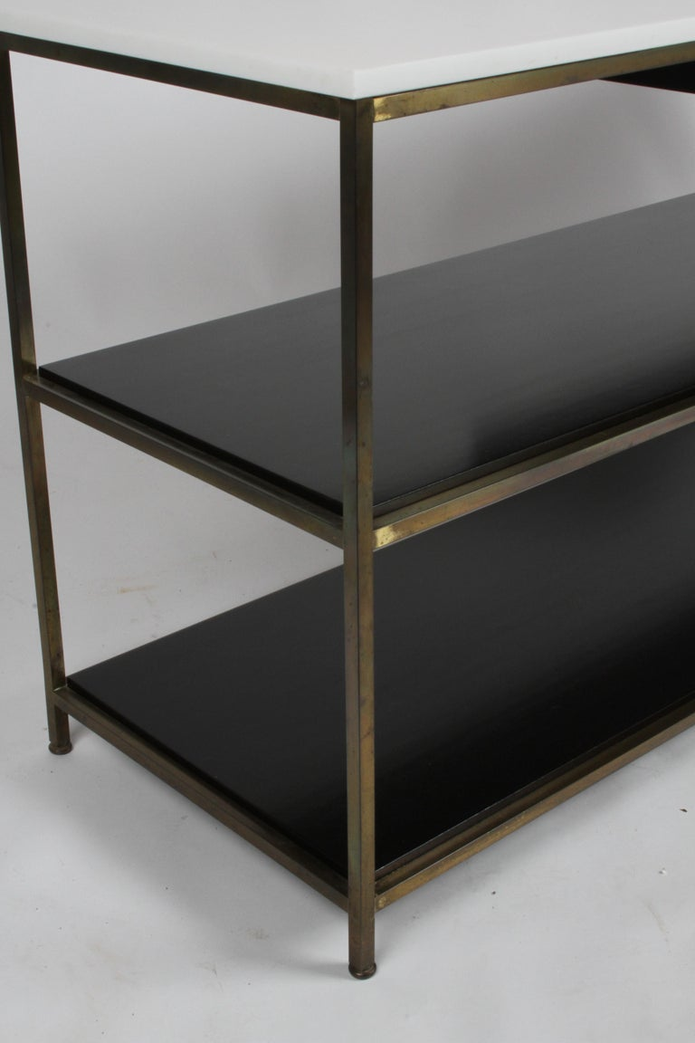 Paul McCobb for Calvin Console Table with White Vitrolite Top and Brass Frame For Sale 7