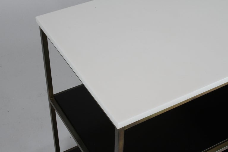 Paul McCobb for Calvin Console Table with White Vitrolite Top and Brass Frame For Sale 9