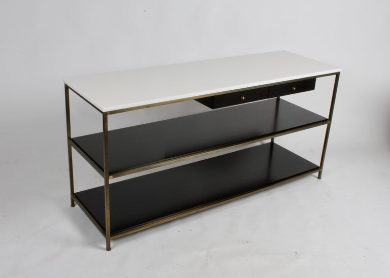 Mid-Century Modern Paul McCobb for Calvin Console Table with White Vitrolite Top and Brass Frame For Sale
