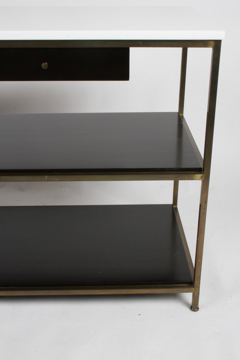 American Paul McCobb for Calvin Console Table with White Vitrolite Top and Brass Frame For Sale